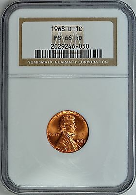 1968-D LINCOLN CENT 1c NGC MS66 RD