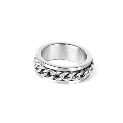 Cool Mens Silver Stainless Steel Curb Chain Band Finger Ring Gothic Punk Jewelry
