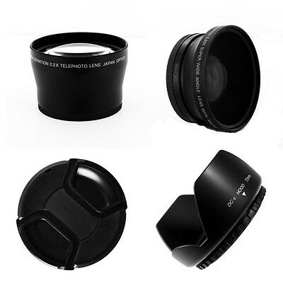 Wide Angle, Tele lens kit for Sony HXR-NX3 NXCAM Alternative To VCL-HG0872K,72mm