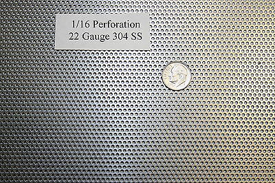 Perforated 304 Stainless Steel 1/16 inch hole, 22 gauge, Price per 5 square inch