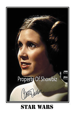 Carrie Fisher - Large Autograph Signed Photo Poster Print - Looks Great Framed