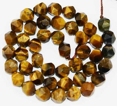 7x8mm yellow Tiger Eye freeform faceted loose Beads 15''