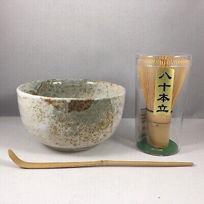 "Japanese 5""D Matcha Bowl Cup Yukishino Spoon Wisk Tea Ceremony Set Made in Japan"