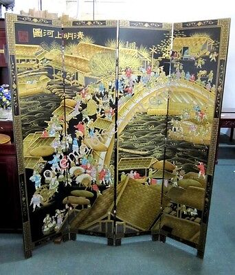 Famous Qing Ming Dynasty Screen Room Divider, Oriental Chinese Lacquer Furniture