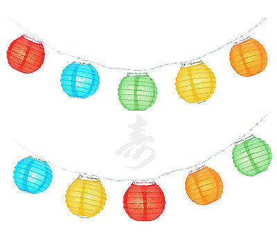 "Chinese Japanese Asian Paper Lantern 4"" Party String Lights, Assorted Mix Colors"