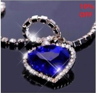 Titanic Heart of the Ocean Necklace Blue Crystal Gift Valentines Day Romantic