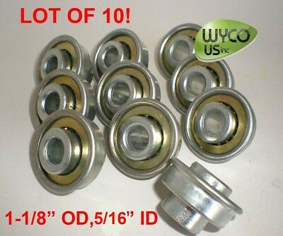 "Lot Of 10, Flange Bearing 1-1/8"" Od, 3/8"" Id, For 1-1/4"" Wide Wheels"