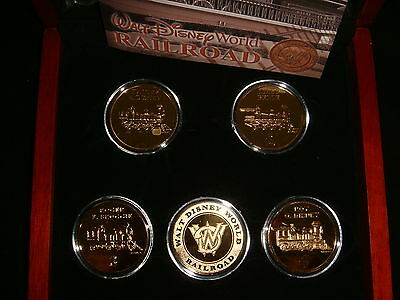 WALT DISNEY WORLD 24K GOLD RAILROAD BOXED COMMERATIVE COIN SET (5)