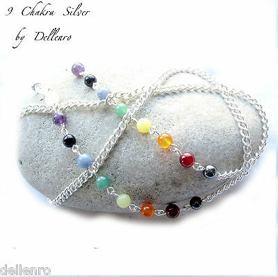 ✫9 Chakra✫ Gemstones Silver Plated Eyeglass Glasses Spectacles Chain Holder Cord