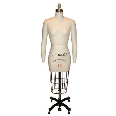 Mannequin Professional Dress Form Size 10 Collapsible Shoulders, Removable Arms