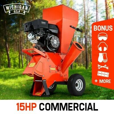 MICHIGAN 15HP Commercial Series Wood Chipper Garden Mulcher Shredder Mulch Chip