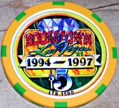 $5 Ltd Edt (1500) 1997 Closing Gaming Chip From Boomtown Casino Lv Nv