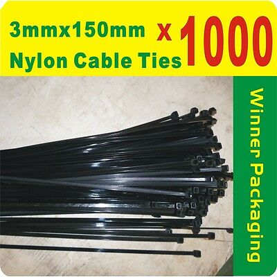 1000 x Black Nylon Cable Ties 3 x 150mm Free Postage