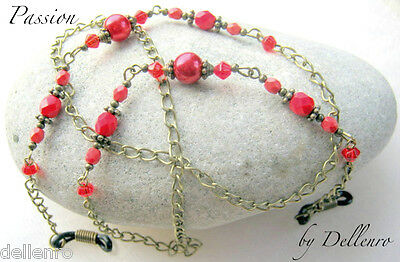 ✫Passion✫ Red & Bronze Beaded Eyeglass Glasses Spectacles Chain Holder Cord