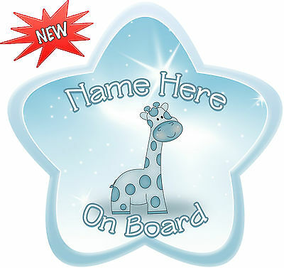 Personalised Dusky Blue Giraffe Star Shaped  Baby On Board Car Sign ~ New!