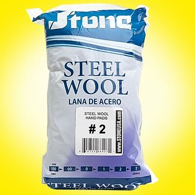 12pc Steel Wool Hand Pads # 2 - Medium Coarse - Lana de Acero -SAME DAY SHIPPING