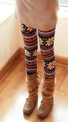 Kids Girls Soft Knitted Patterned Casual/Fashion Comfortable Leggings Xmas Gift