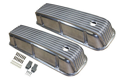 BB Chevy Tall Full Finned Polished Aluminum Valve Covers 396 427 454 502 Rat Rod