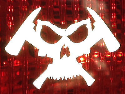 $2 ONLY REFLECTIVE Skull & Axes Decal Fire Fighter Rescue Helmet Sticker + FREE