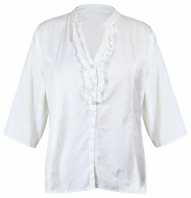Womens New V Neck Frill Top Ladies 3/4 Sleeve Plus Size Ruffle Shirt Tops 16-26