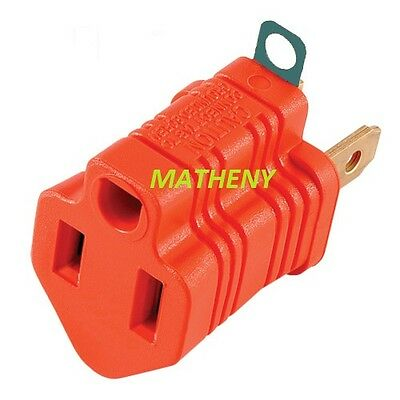 Orange 3-Prong To 2-Prong Plug AC Polarized Power Outlet Wall Adapter 3 To 2 UL