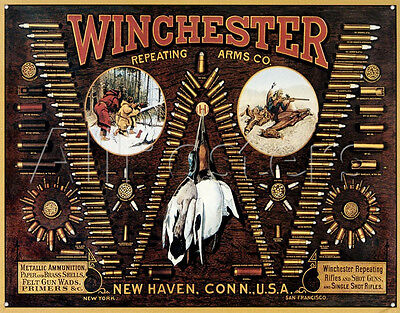 Winchester TIN SIGN Bullet Chart hunting Gun ammo Display  vintage look metal
