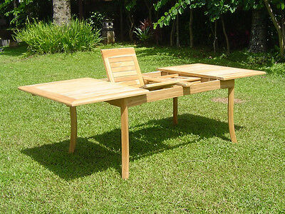 "Grade-A Teak Wood 94"" Double Extension Rectangle Dining Table Outdoor Patio New"