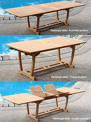 "Grade-A Teak Wood Mas 94"" Double Extension Rectangle Dining Table Outdoor Patio"
