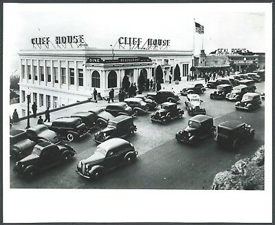 1930s SAN FRANCISCO CLIFF HOUSE ROAD with AUTOS & TAXIS TRAFFIC JAM~8x10 PHOTO