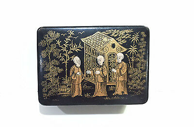 Beautiful Antique Chinese Export Black Lacquer & Gilt Hinged Box - Little Jewel