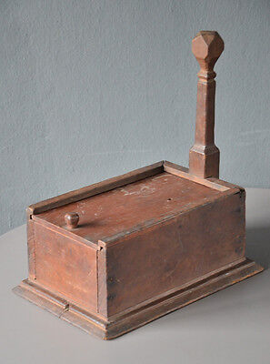 Antique Primitive Old Teak Wood Sewing Tool Box vintage needle pin container