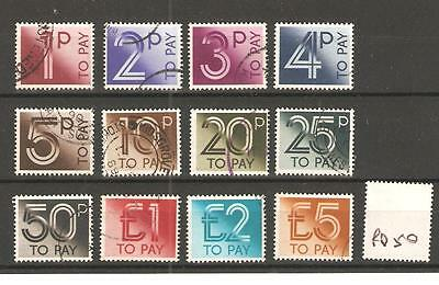 Postage Due -Pd50- 1982 Issue - Set To £5.00 - 12 Values - Used