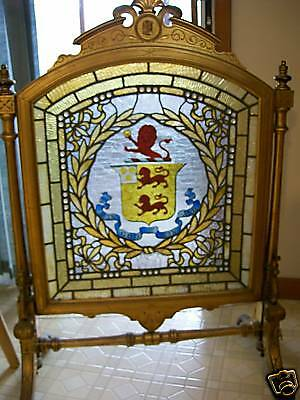 Antique Leaded Stained Glass Firescreen