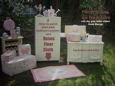 Rose Floor Cloth and How To Paint  Vintage Suitcase Chic Shabby HP Roses Lesson