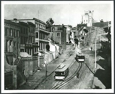 1870s CABLE CARS on STEEP SAN FRANCISCO HILL w/RESIDENCES~8x10 GLOSSY B/W PHOTO