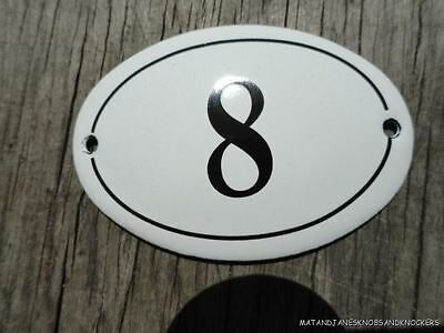 Small Antique Style Enamel Door Number 8 Sign Plaque House Number Furnituresign