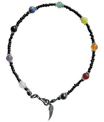 ✫9 Chakra Black✫ Handcrafted Gemstone Anklet Ankle Chain Ankle Bracelet
