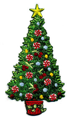 Christmas Tree W/peppermint Swirls Embroidered Iron On Applique Patch
