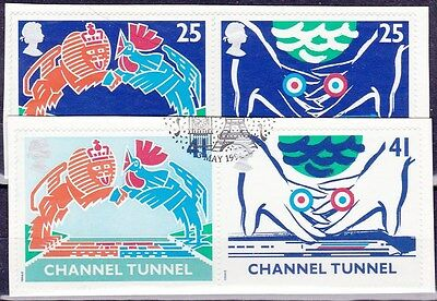 1994 Channel Tunnel 4 Values On Piece SG1820-1823 With FDI Postmark SC1255