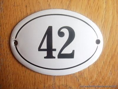 Small Antique Style Enamel Door Number 42 Sign Plaque House Number Sign