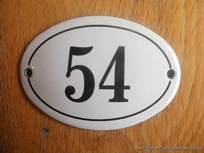 Small Antique Style Enamel Door Number 54 Sign Plaque House Number Furnituresign