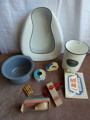 Antique/Vintage Medical -Irrigator, Bed pan, Child potty, Thermometer box, PLUS