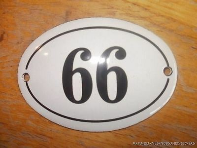 Small Antique Style Enamel Door Number 66 Sign Plaque House Number Furnituresign