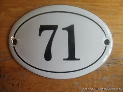Small Antique Style Enamel Door Number 71 Sign Plaque House Number Furnituresign