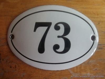 Small Antique Style Enamel Door Number 73 Sign Plaque House Number Furnituresign