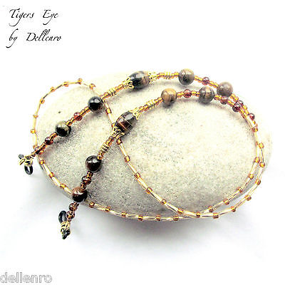 ✫Tiger's Eye✫ Beaded Gemstone Eyglass Glasses Spectacles Chain Holder Cord