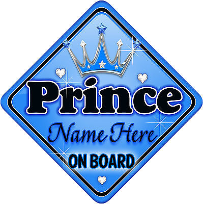 Personalised Baby On Board Car Sign Blue ~ Silver Prince New! MYCR