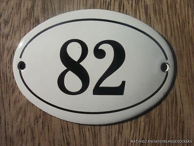 Small Antique Style Enamel Door Number 82 Sign Plaque House Number Furnituresign