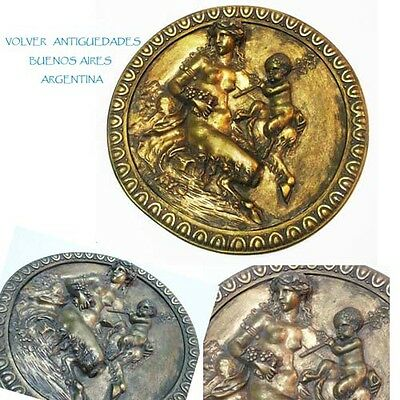 Antique mother and child faun bronze ormolu plate Clodion ? plaque • CAD $565.74