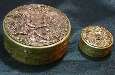 Very interesting 2 French round boxes bronze and copper angel romantic